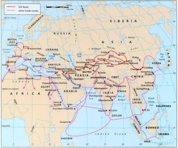 Map of ancient merchant routes. Report photo