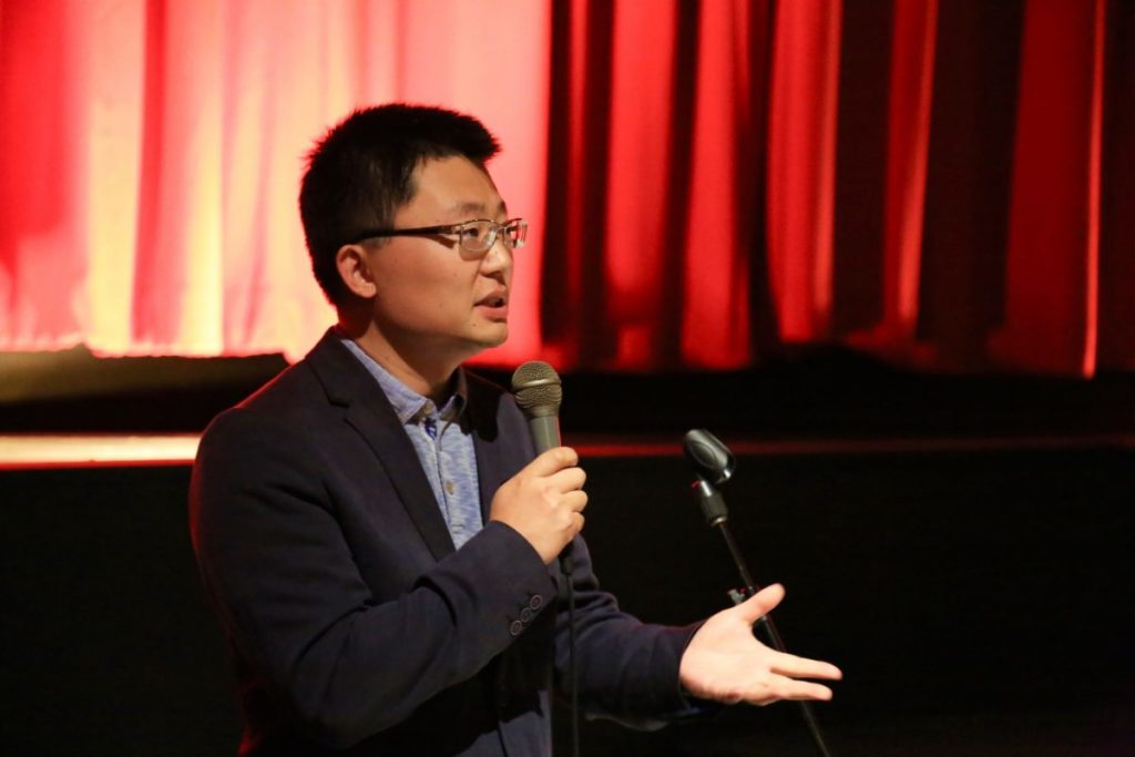 "Leon Lee, director of the award-winning documentary ""Letter from Masanjia,"" speaks to the audience after the screening of his film at ByTowne Cinema in Ottawa on Sept. 3, 2018. (Jonathan Ren/NTD Television)"