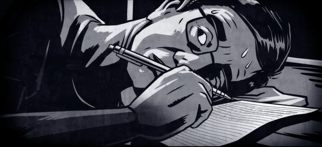 Animated recreation of Sun Yi writing his SOS letter inside the Masanjia Labour Camp. (Courtesy Flying Cloud Productions)