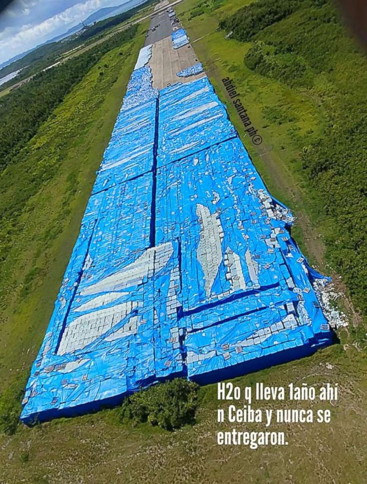 Thousands of water bottles left on an naval base tarmac in Ceiba, Puerto Rico that were meant for Hurricane Maria survivors.
