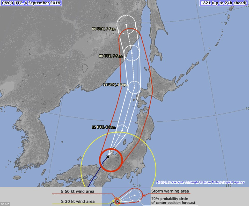Jebi was the strongest typhoon to make landfall in Japan since 1993. The storm was heading north across Japan's main island of Honshu towards the Sea of Japan