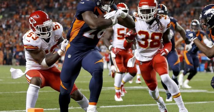 9d29337a8 Kansas City Chiefs linebacker Anthony Hitchens (53) can t stop Denver  Broncos running back Royce Freeman (28) from scoring a touchdown as  defensive back Ron ...