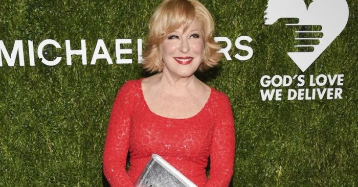 """Bette Midler attends the God's Love We Deliver Golden Heart Awards at Spring Studios in New York. Bette Midler and Brooke Shields are among the guest stars dropping in on CBS' """"Murphy Brown"""" revival. The singer-actress is back as Caprice on the Nov. 8 episode, this time with a connection to Murphy that makes her even more unbearable, CBS said Thursday, Oct. 18, 2018. (Photo by Evan Agostini/Invision/AP, File)"""