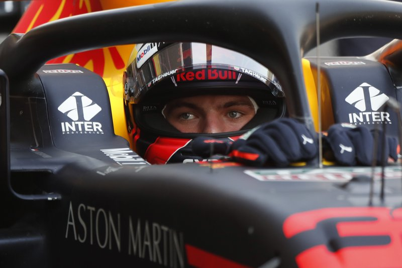 Red Bull driver Max Verstappen, of the Netherlands, sits in his car during the first training session of the Formula One Mexico Grand Prix auto race at the Hermanos Rodriguez racetrack in Mexico City, Friday, Oct. 26, 2018. (AP Photo/Moises Castillo)