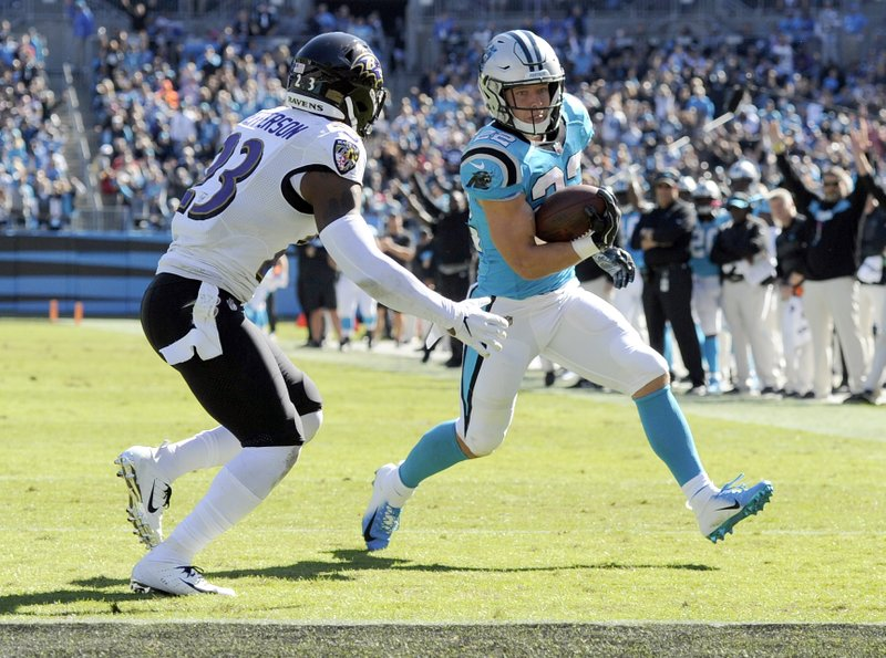 Carolina Panthers' Christian McCaffrey (22) runs past Baltimore Ravens' Tony Jefferson (23) for a touchdown in the first half of an NFL football game in Charlotte, N.C., Sunday, Oct. 28, 2018. (AP Photo/Mike McCarn)