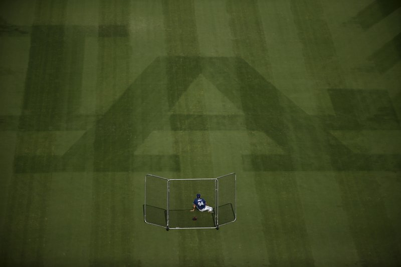 A Los Angeles Dodgers ball boy waits in the outfield before Game 5 of the World Series baseball game against the Boston Red Sox on Sunday, Oct. 28, 2018, in Los Angeles. (AP Photo/Jae C. Hong)