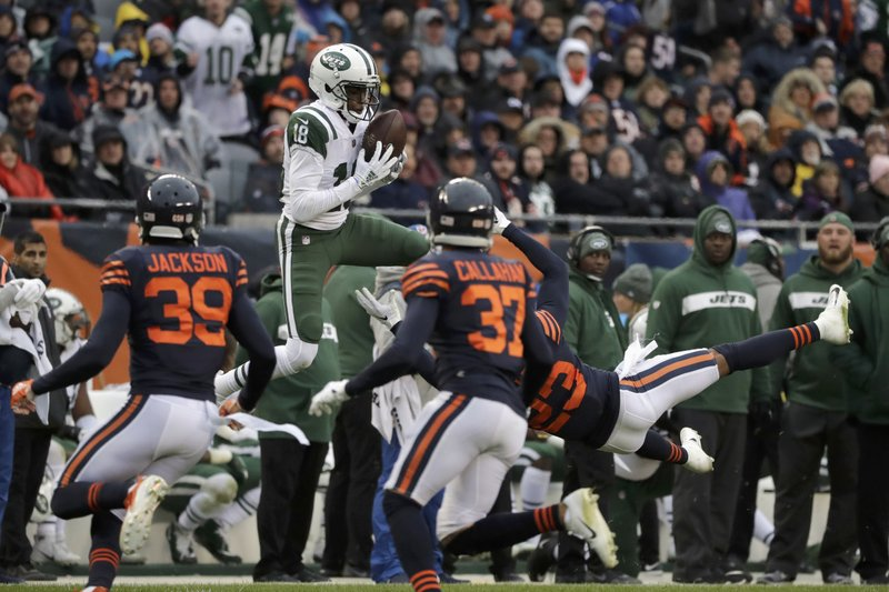 New York Jets wide receiver Deontay Burnett (18) makes a reception during the second half of an NFL football game against the Chicago Bears Sunday, Oct. 28, 2018, in Chicago. (AP Photo/Nam Y. Huh)