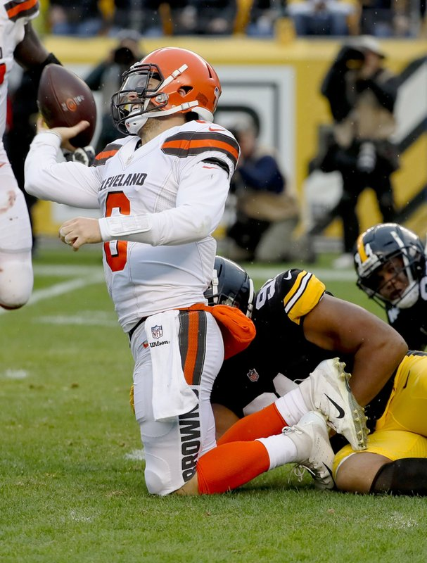 da830a1bf Cleveland Browns quarterback Baker Mayfield (6) tries topass as he is  sacked by Pittsburgh