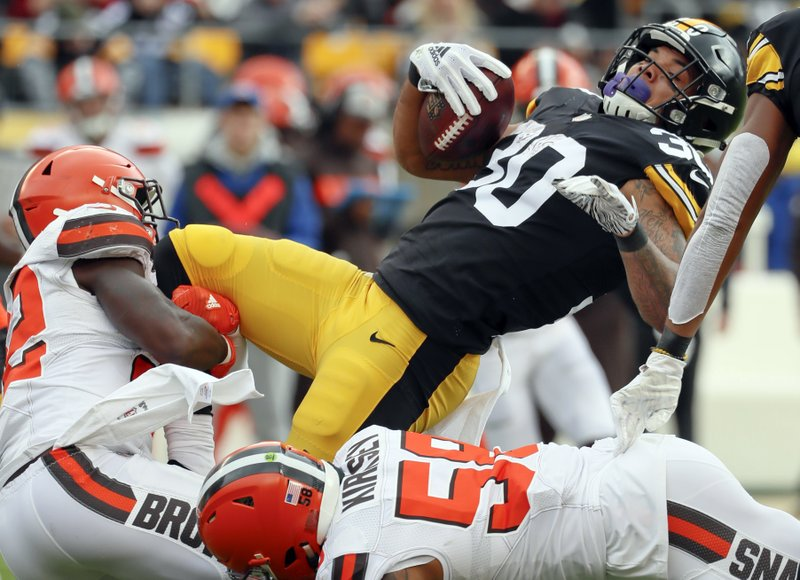 6c9822be2 Pittsburgh Steelers running back James Conner (30) gets over Cleveland  Browns outside linebacker Christian
