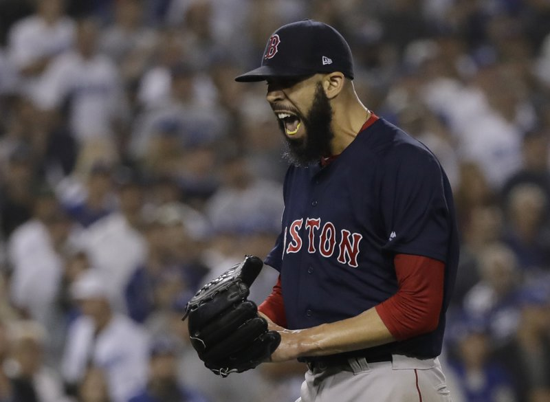Boston Red Sox pitcher David Price reacts after the third inning in Game 5 of the World Series baseball game against the Los Angeles Dodgers on Sunday, Oct. 28, 2018, in Los Angeles. (AP Photo/David J. Phillip)