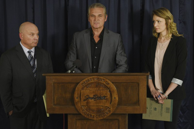 Media witnesses Dave Kolpack, from left, Don Jorgensen and Danielle Ferguson talk to the media after Rodney Berget is executed Monday, Oct. 29, 2018, at the South Dakota State Penitentiary in Sioux Falls, S.D. Berget was put to death for killing prison guard Ronald