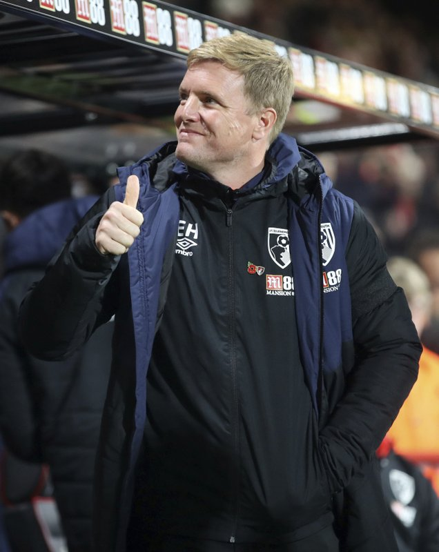 Bournemouth manager Eddie Howe during the Carabao Cup, Fourth Round match at the Vitality Stadium, Bournemouth Tuesday, October 30, 2018. (Adam Davy/PA via AP)