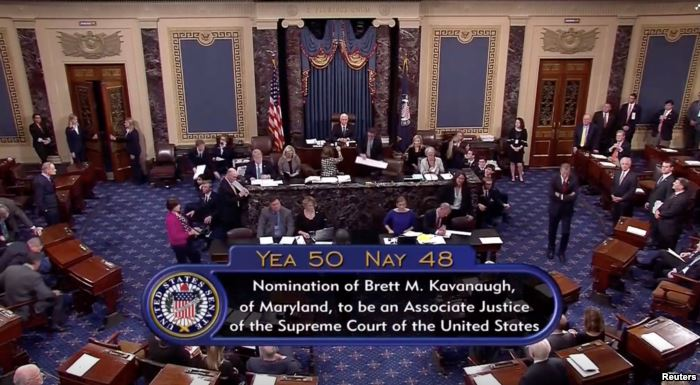 A still image taken from video of the final tally of votes by the U.S. Senate