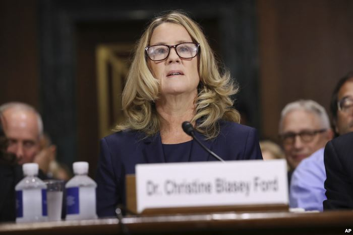 Christine Blasey Ford testifies before the Senate Judiciary Committee, Sept.