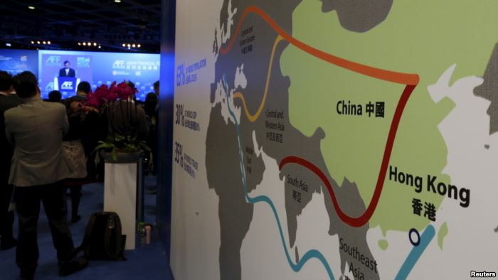 FILE - A map illustrating China's silk road economic belt and the 21st ce