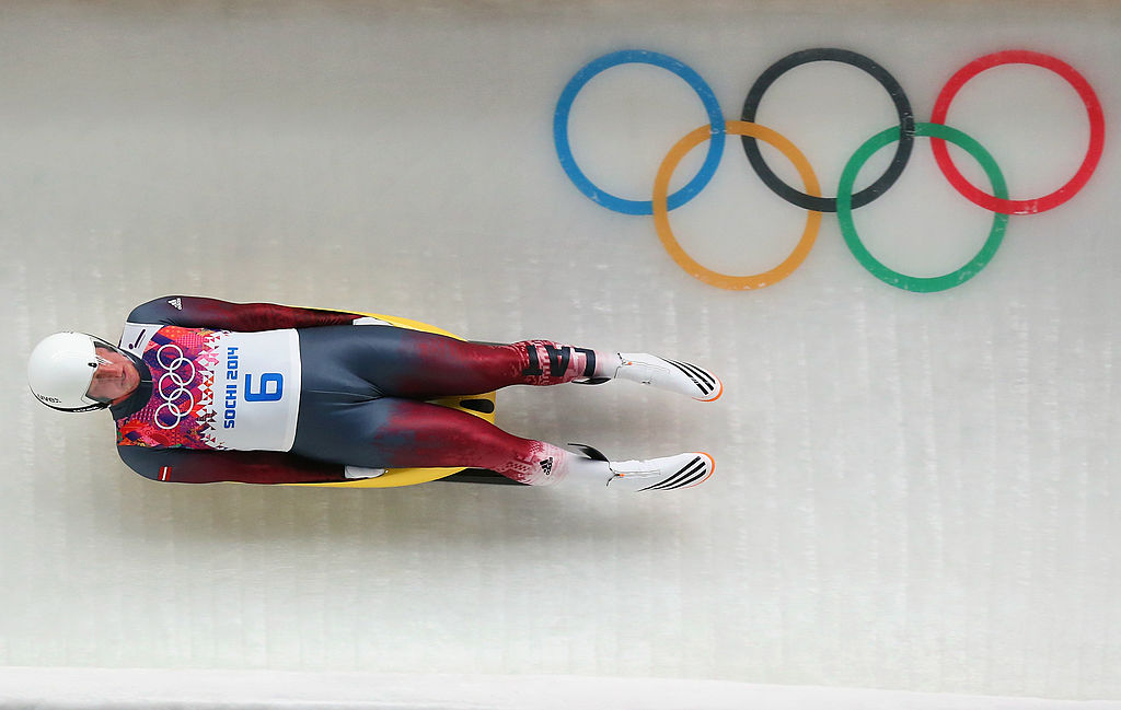 Martins Rubenis of Latvia makes a run during the Luge Men's Singles on Day 1 of the Sochi 2014 Winter Olympics at the Sliding Center Sanki in Sochi, Russia, on Feb. 8, 2014. (Alex Livesey/Getty Images)