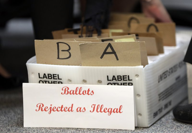 FILE - In this Tuesday, Oct. 30, 2018, file photo, rejected mail in ballots sit in a box as members of the canvassing board verify signatures on ballots at the Miami-Dade County Elections Department, in Miami. Voters go to the polls in the midterm elections Nov. 6. Long lines, broken voting machines and poll worker confusion are all common at polling places across the country on Election Day. With more people voting early, some of these issues are already popping up in this year's midterm election. (AP Photo/Lynne Sladky, File)