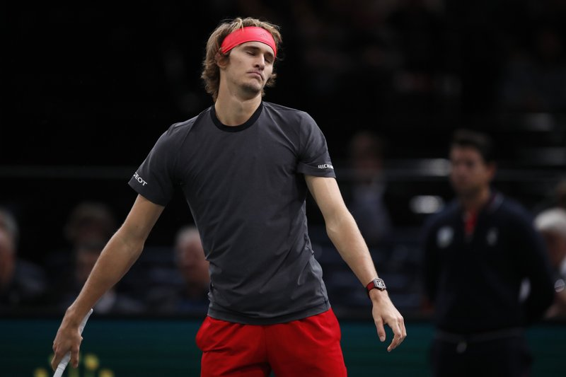 Alexander Zverev of Germany reacts after missing a point against Karen Khachanov of Russia during their quarter-final match of the Paris Masters tennis tournament at the Bercy Arena in Paris, France, Friday, Nov. 2, 2018. (AP Photo/Christophe Ena)