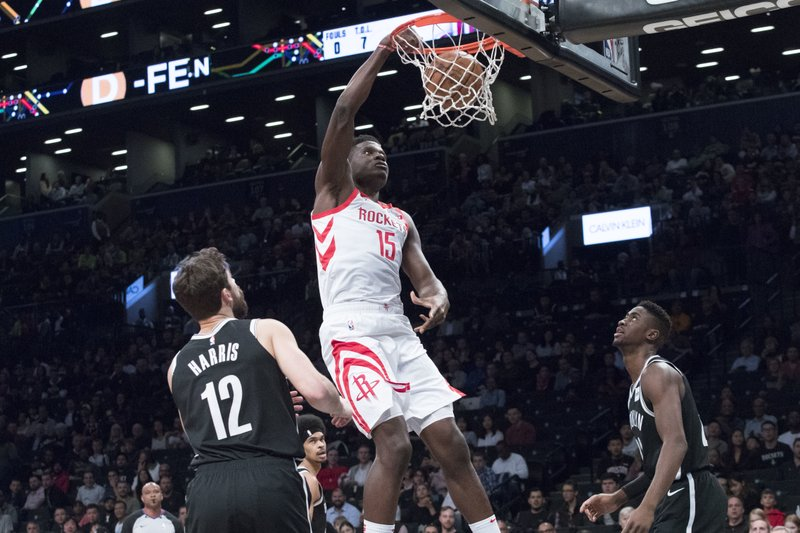 Houston Rockets center Clint Capela (15) dunks during the first half of an NBA basketball game against the Brooklyn Nets, Friday, Nov. 2, 2018, in New York. (AP Photo/Mary Altaffer)