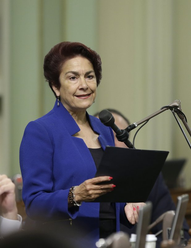 FILE-- In this May 4, 2017 file photo shows Assemblywoman Anna Caballero, D-Salinas, at the Capitol, in Sacramento, Calif. Caballero is running for the 12th District state Senate seat against Madera County Supervisor Rob Poythress, a Republican in he Nov. 6 election. (AP Photo/Rich Pedroncelli, file)