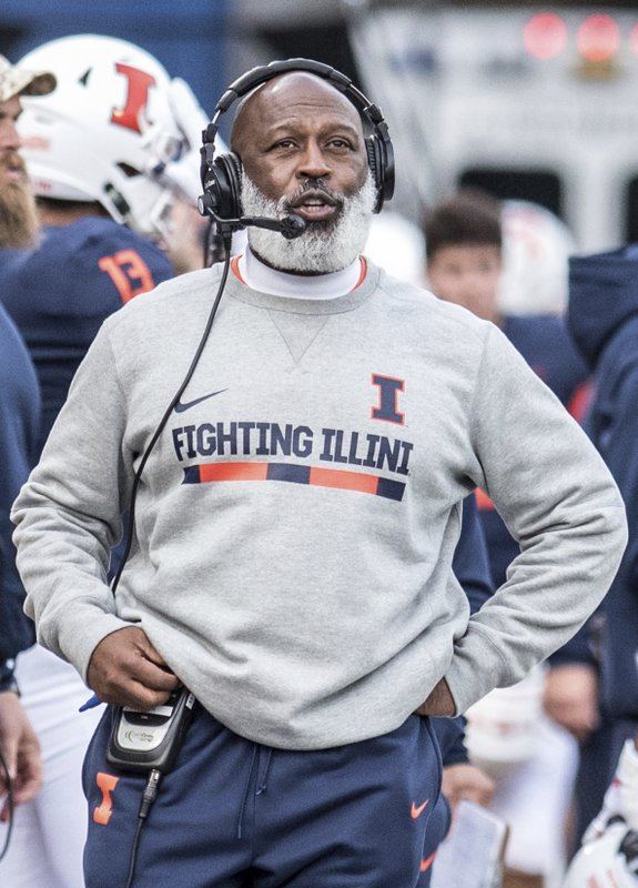 Illinois head coach Lovie Smith watches from the sideline in the first half of a NCAA college football game against Minnesota, Saturday, Nov. 3, 2018, in Champaign, Ill. (AP Photo/Holly Hart)