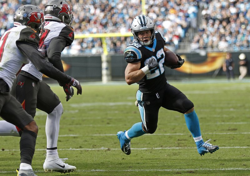 Carolina Panthers' Christian McCaffrey (22) runs against the Tampa Bay Buccaneers in the first half of an NFL football game in Charlotte, N.C., Sunday, Nov. 4, 2018. (AP Photo/Nell Redmond)