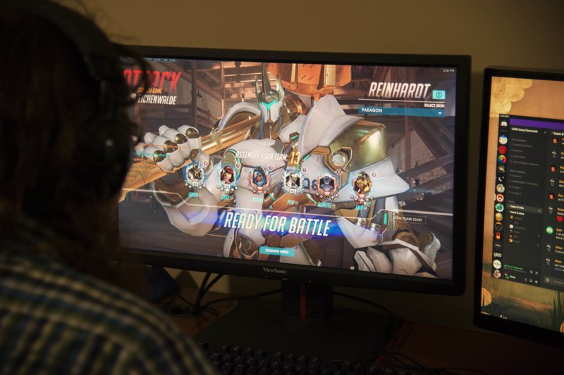 Noah Wrolson plays a game of Overwatch with the University ESports team on Sunday, Oct. 28, 2018. Each game of Overwatch takes 45 minutes to an hour, and they usually play two during their weekly tournaments. (Jack Rodgers/The Minnesota Daily via AP)