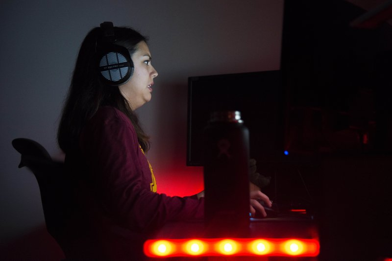 Siouxsie Steengrafe plays a game of Overwatch with the University ESports team on Sunday, Oct. 28. Steengrafe uses the computer game as a creative outlet for her competitive nature. (Jack Rodgers/The Minnesota Daily via AP)