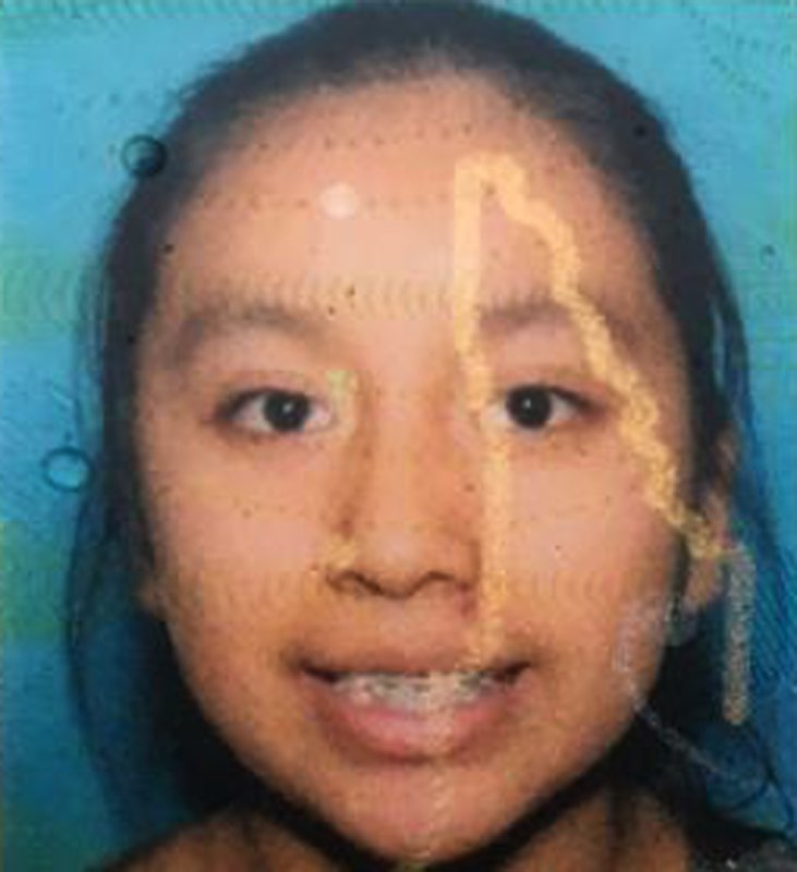 This photo provided by the Lumberton Police Department shows Hania Noelia Aguilar. Police in North Carolina say the 13-year-old girl has been kidnapped from a mobile home park. Lumberton police Capt. Terry Parker tells news outlets that witnesses described a man with a yellow bandana over his face grabbing Aguilar from a yard in the Rosewood Mobile Home Park just before 7 a.m. Monday, Nov. 5, 2018. (Lumberton Police Department via AP)