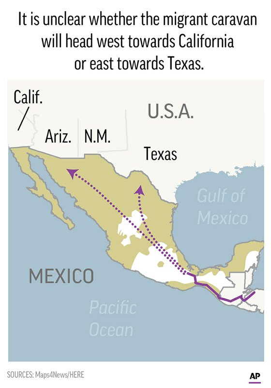 Migrants from the Central American caravan push toward Mexico City.