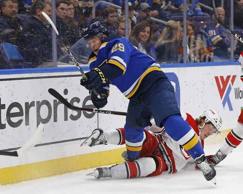 Carolina Hurricanes' Brock McGinn, bottom right, falls to the ice after colliding with St. Louis Blues' Vince Dunn during the first period of an NHL hockey game Tuesday, Nov. 6, 2018, in St. Louis. (AP Photo/Billy Hurst)