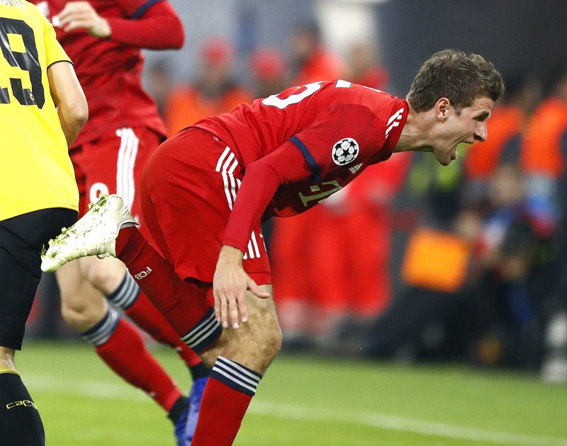 Bayern forward Thomas Mueller reacts during the Champions League group E soccer match between FC Bayern Munich and AEK Athen in Munich, Germany, Wednesday, Nov. 7, 2018. (AP Photo/Matthias Schrader)