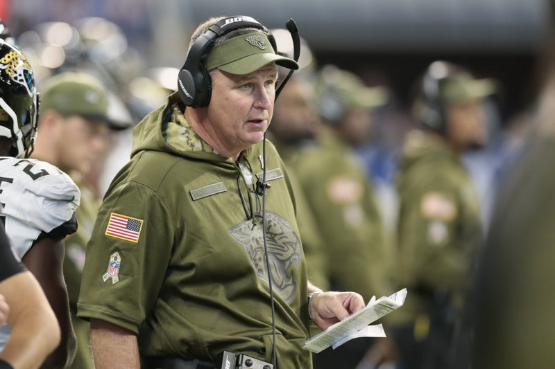 Jacksonville Jaguars head coach Doug Marrone watches from the sidelines during the second half of an NFL football game against the Indianapolis Colts in Indianapolis, Sunday, Nov. 11, 2018. (AP Photo/AJ Mast)