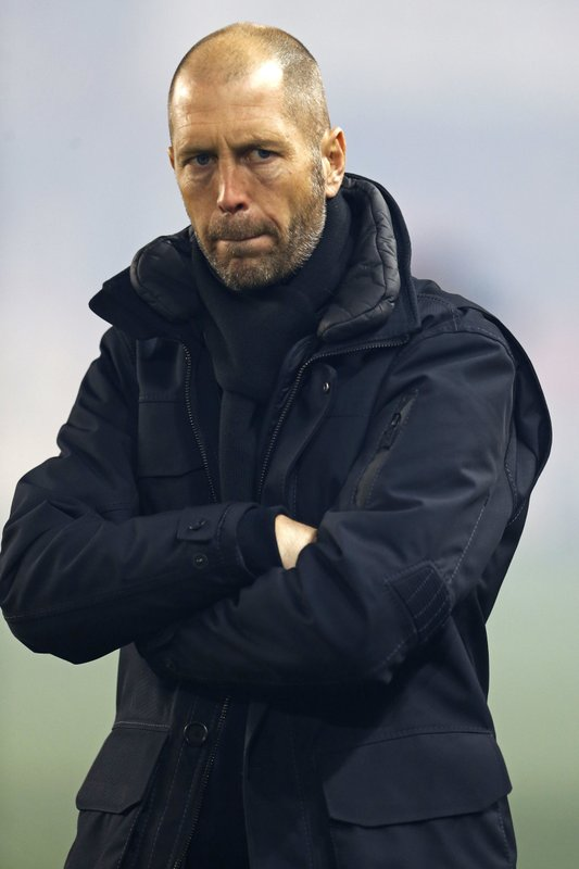 Columbus Crew head coach Gregg Berhalter prior to taking on the New York Red Bulls during the first half of an MLS soccer game, Sunday, Nov. 11, 2018 in Harrison, N.J. (AP Photo/Adam Hunger)