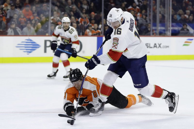 Florida Panthers' Aleksander Barkov (16) shoots the puck as Philadelphia Flyers' Robert Hagg (8) defends during the first period of an NHL hockey game, Tuesday, Nov. 13, 2018, in Philadelphia. (AP Photo/Matt Slocum)