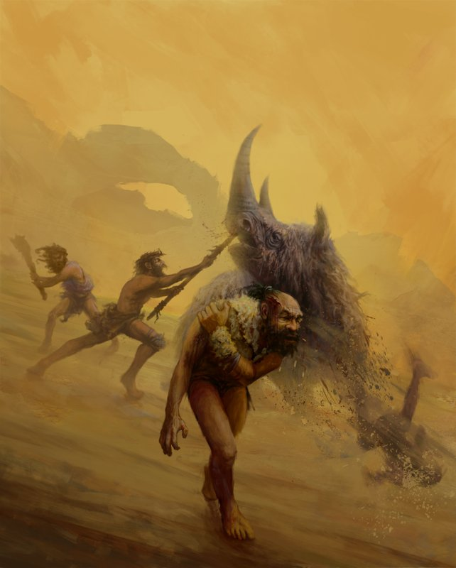 This illustration provided by Gleiver Prieto and Katerina Harvati shows a group of Neanderthals hunting with non-projectile weapons. A new analysis released on Wednesday, Nov. 14, 2018 says life as a Neanderthal was no picnic, but no more dangerous than what our own species faced in ancient times. (Gleiver Prieto/Katerina Harvati via AP)