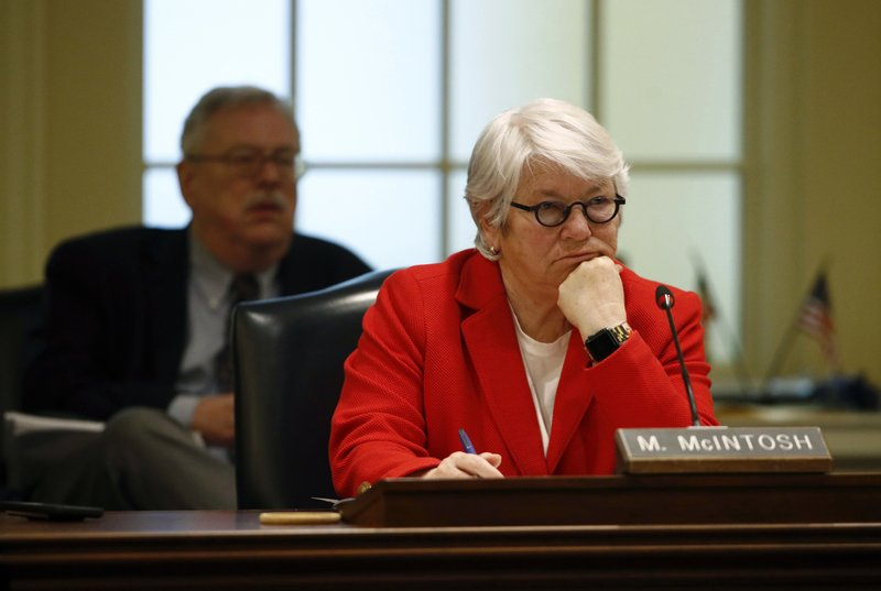 Rep. Maggie McIntosh, D-Baltimore City, leads a House of Delegates appropriations committee hearing, Thursday, Nov. 15, 2018, in Annapolis, Md., to examine how the University of Maryland and the University System of Maryland's Board of Regents responded to the death of football player Jordan McNair. (AP Photo/Patrick Semansky)