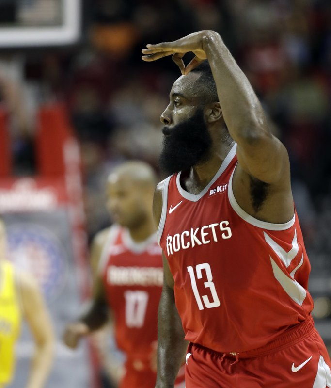 6b5eec7fa Houston Rockets  James Harden (13) celebrates after making a three-point  basket