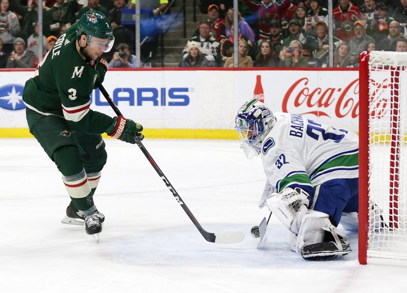 Minnesota Wild center Charlie Coyle (3) is stopped by Vancouver Canucks goalie Richard Bachman (25) during the first period of an NHL hockey game Thursday, Nov. 15, 2018, in St. Paul, Minn. (AP Photo/Andy Clayton-King)