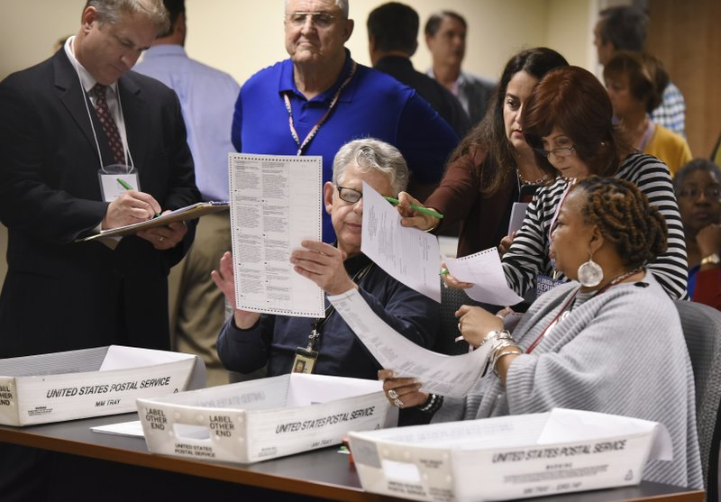 Elections officials with observers watching over their shoulders do a hand recount of questionable mail in ballots Friday, Nov. 16, 2018 in Jacksonville, Fla.   (Bob Self/The Florida Times-Union via AP)
