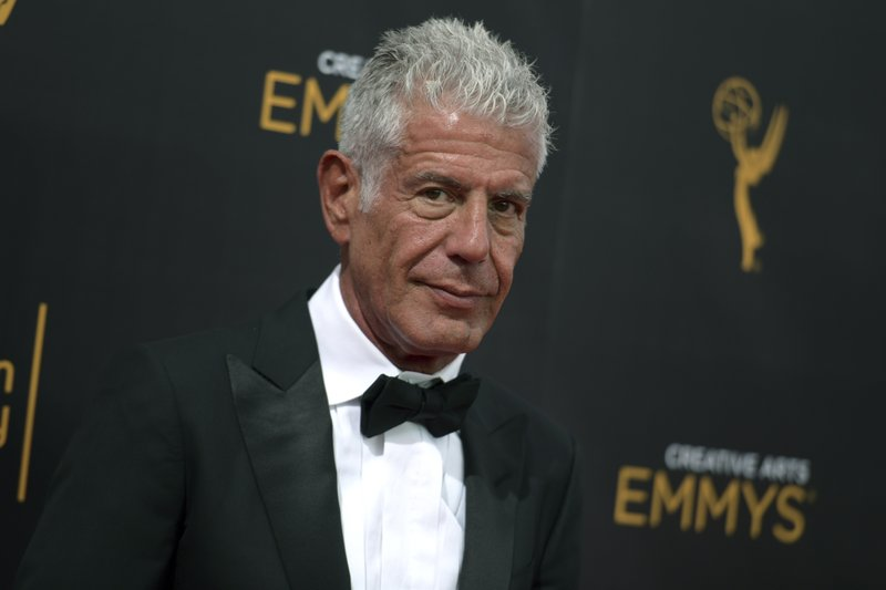 FILE - In this Sept. 11, 2016 file photo, Anthony Bourdain arrives at night two of the Creative Arts Emmy Awards at the Microsoft Theater in Los Angeles. Bourdain is among new nominees to the New Jersey Hall of Fame. The organization announced its list of 50 nominees for the 11th class on Friday, Nov. 16, 2018. Inductees will be announced in January 2019, and the indication ceremony will be held in May.  (Photo by Richard Shotwell/Invision/AP, File)
