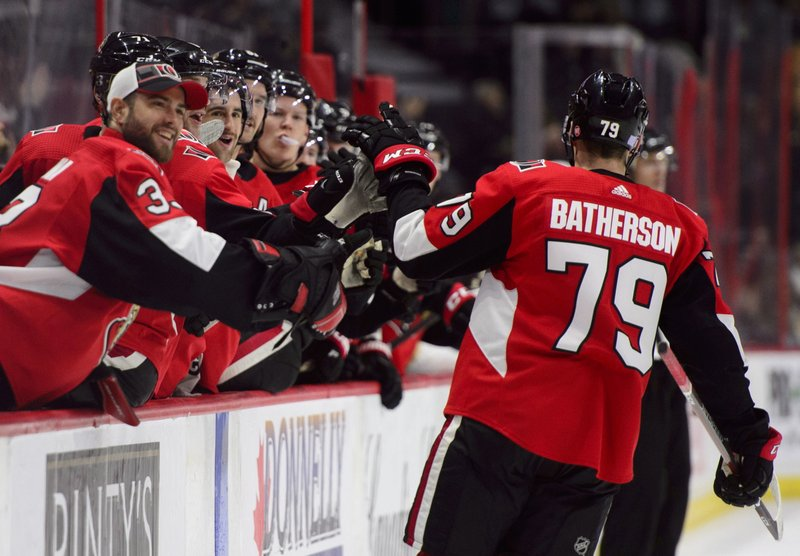 Ottawa Senators right wing Drake Batherson (79) celebrates a goal with the bench as they take on the Florida Panthers during second period NHL hockey action in Ottawa on Monday, Nov. 19, 2018. (Sean Kilpatrick/The Canadian Press via AP)