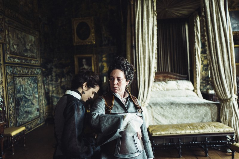 This image released by Fox Searchlight Films shows Rachel Weisz and Olivia Coleman, right, in a scene from the film