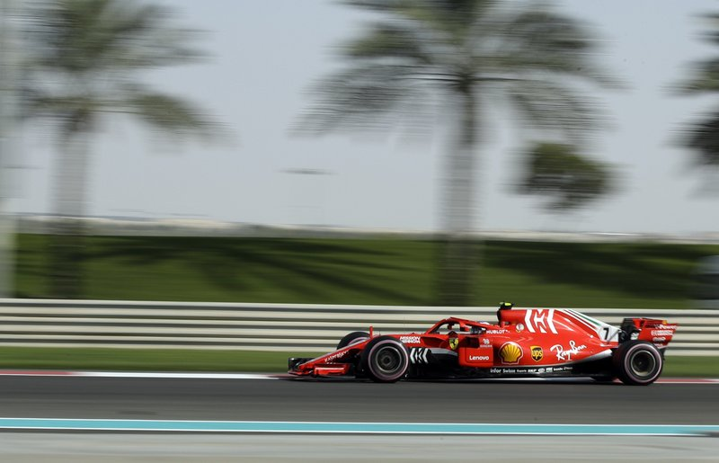 Ferrari driver Kimi Raikkonen of Finland steers his car during the third free practice at the Yas Marina racetrack in Abu Dhabi, United Arab Emirates, Saturday, Nov. 24, 2018. The Emirates Formula One Grand Prix will take place on Sunday. (AP Photo/Luca Bruno)