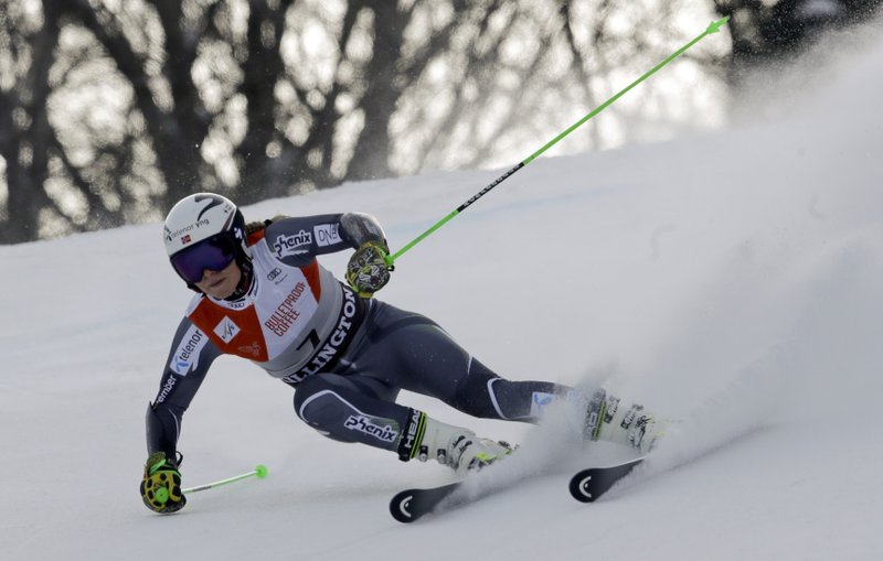 Norway's Ragnhild Mowinckel competes during the first run of the alpine ski, women's World Cup giant slalom in Killington, Vt., Saturday, Nov. 24, 2018. (AP Photo/Charles Krupa)