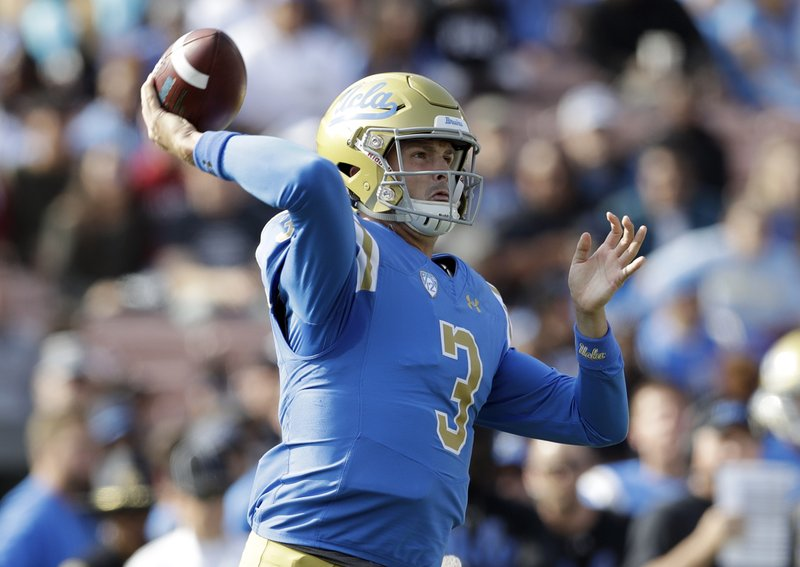 UCLA quarterback Wilton Speight throws against Stanford during the first half of an NCAA college football game Saturday, Nov. 24, 2018, in Pasadena, Calif. (AP Photo/Marcio Jose Sanchez)