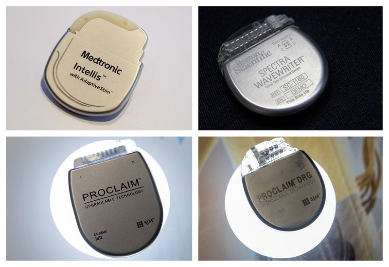 This combination of Saturday, Aug. 25, 2018 photos shows demonstration models of implantable neurostimulators, top row from left, the Medtronic Intellis and the Boston Scientific Spectra WaveWriter SCS. Bottom row from left are the Abbott/St. Jude's Proclaim 7 Implantable Pulse Generator and Proclaim DRG Implantable Pulse Generator. For years, medical device companies and doctors have touted spinal cord stimulators as a panacea for millions of patients suffering from a wide range of intractable pain disorders. But the devices, surgically placed inside the back, that use electrical currents to block pain signals before they reach the brain _ are more dangerous than many patients understand, according to an Associated Press investigation. (AP Photo/Mary Altaffer)