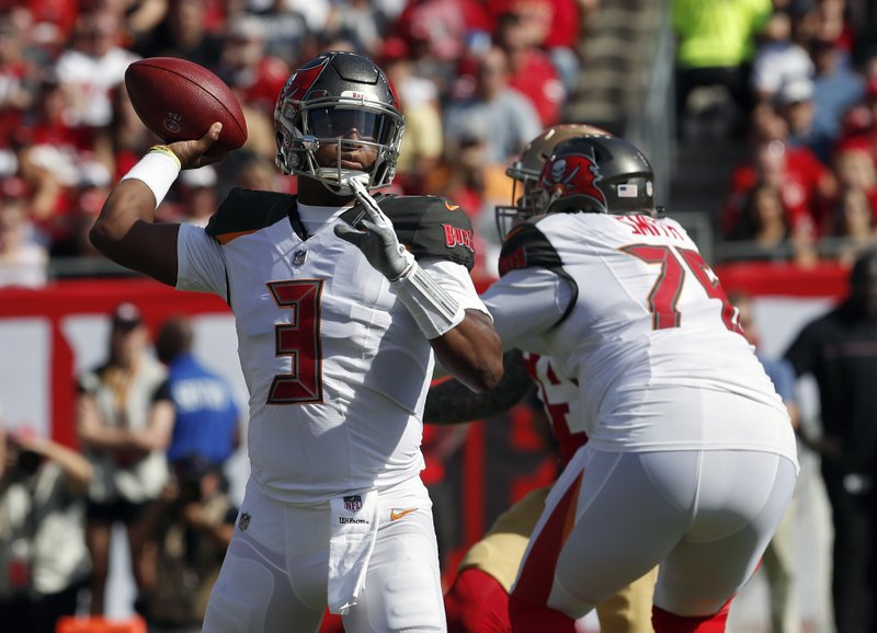 Tampa Bay Buccaneers quarterback Jameis Winston (3) throws a pass against the San Francisco 49ers during the first half of an NFL football game Sunday, Nov. 25, 2018, in Tampa, Fla. (AP Photo/Mark LoMoglio)