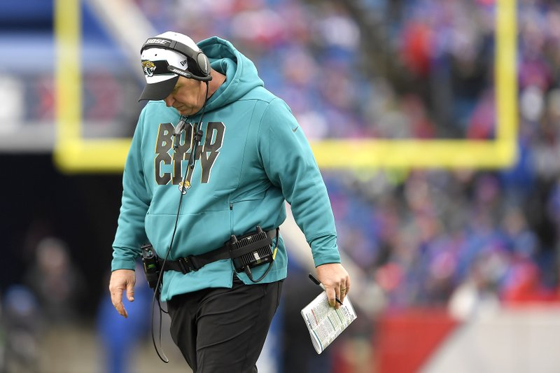 Jacksonville Jaguars head coach Doug Marrone reacts on the sideline during the first half of an NFL football game against the Buffalo Bills, Sunday, Nov. 25, 2018, in Orchard Park, N.Y. (AP Photo/Adrian Kraus)
