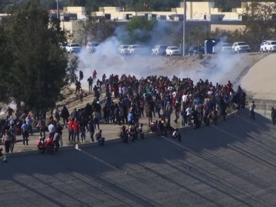 U.S. border agents in San Diego fired tear gas on hundreds of migrants protesting on the Mexican side of the border on Sunday after some of them attempted to get through the fencing and wire separating the two countries. (Nov. 26)